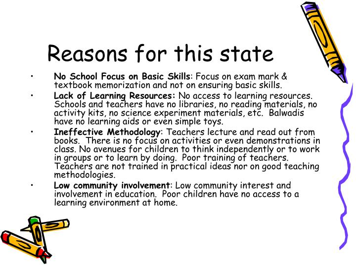 Reasons for this state