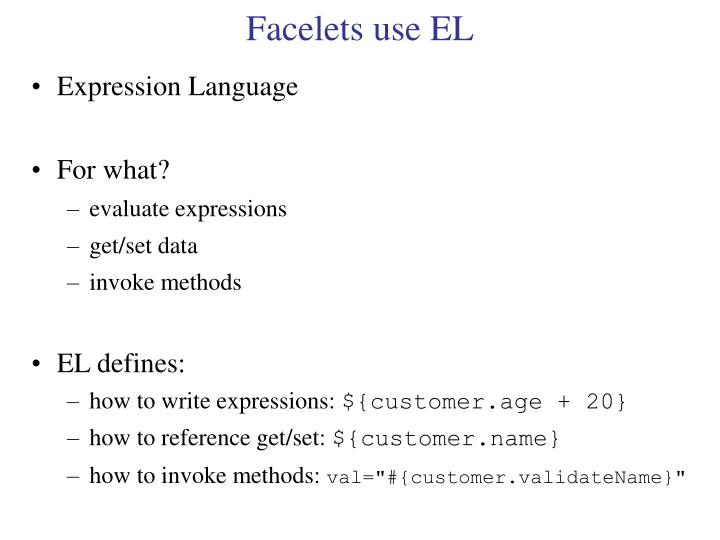 Facelets use EL