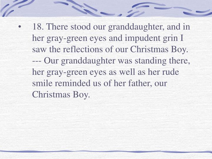 18. There stood our granddaughter, and in her gray-green eyes and impudent grin I saw the reflections of our Christmas Boy.