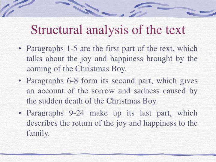 Structural analysis of the text