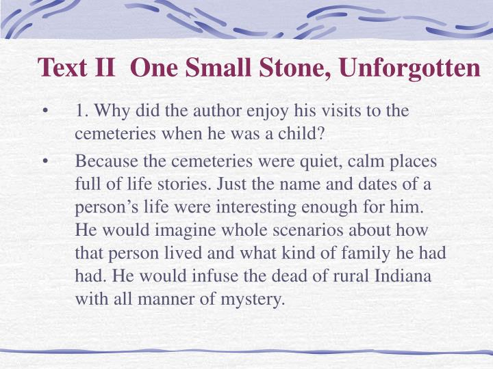 Text II  One Small Stone, Unforgotten