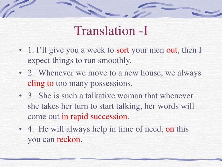 Translation -I