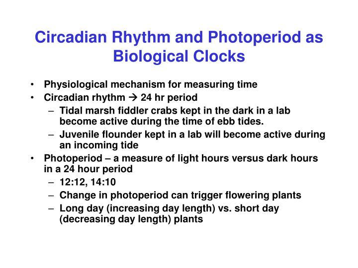 Circadian Rhythm and Photoperiod as Biological Clocks