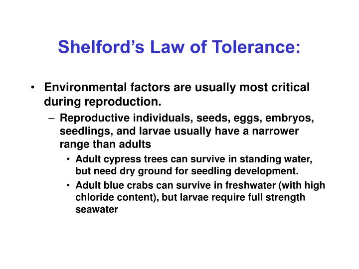 Shelford's Law of Tolerance: