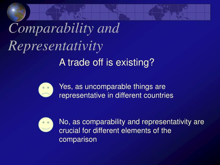 Comparability and Representativity