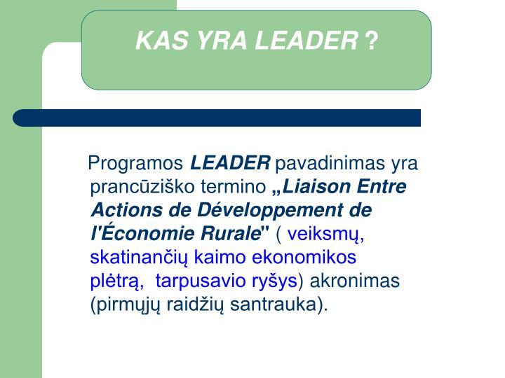 KAS YRA LEADER