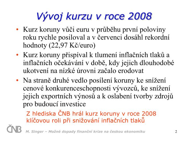 Vývoj kurzu v roce 2008
