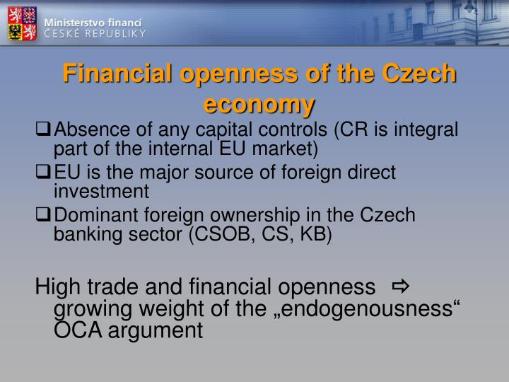 Financial openness of the Czech economy