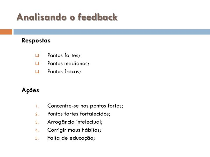 Analisando o feedback