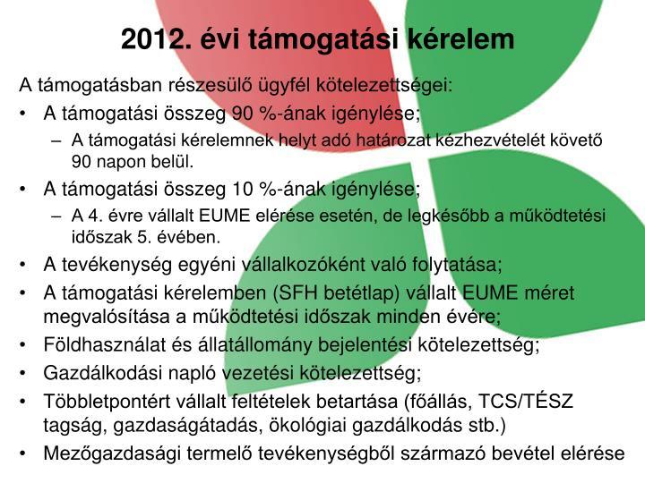 2012. évi támogatási kérelem