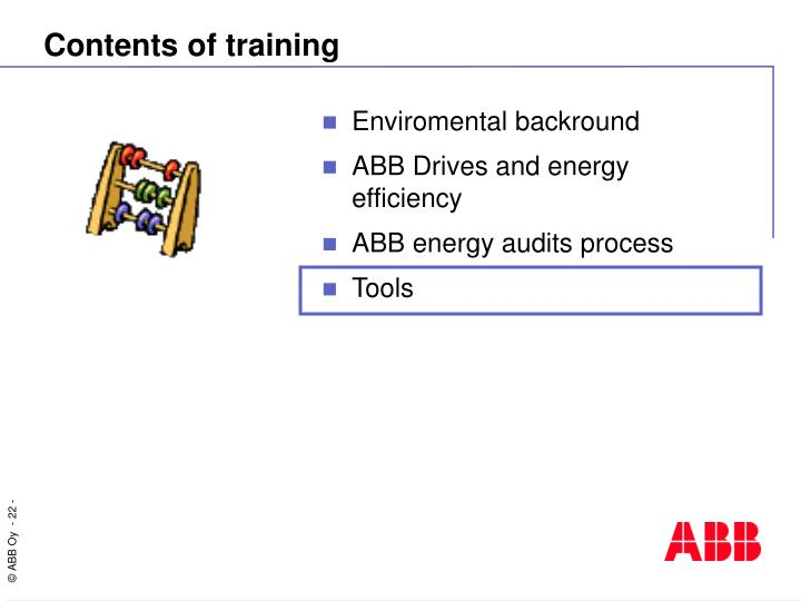Contents of training