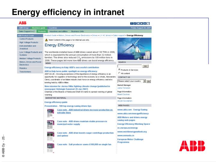 Energy efficiency in intranet