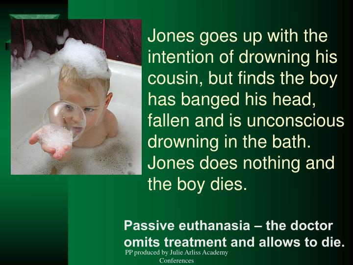 Jones goes up with the intention of drowning his cousin, but finds the boy has banged his head, fallen and is unconscious drowning in the bath. Jones does nothing and the boy dies.