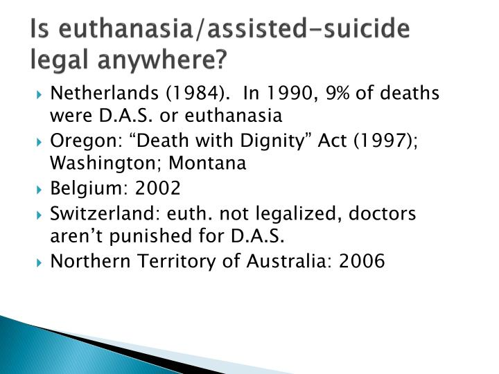 Is euthanasia/assisted-suicide legal anywhere?