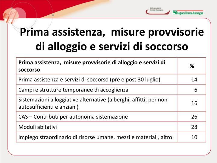 Prima assistenza,  misure provvisorie di alloggio e servizi di soccorso