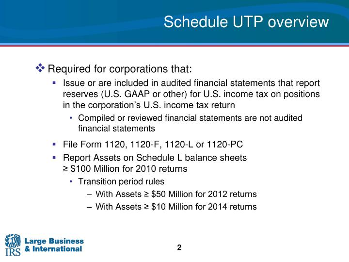 Schedule UTP overview