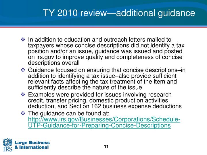 TY 2010 review—additional guidance