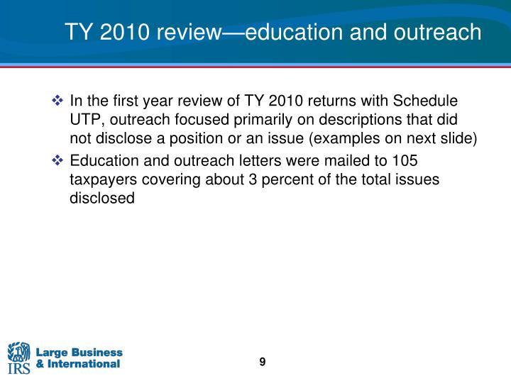 TY 2010 review—education and outreach