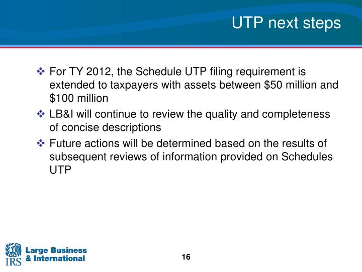 UTP next steps