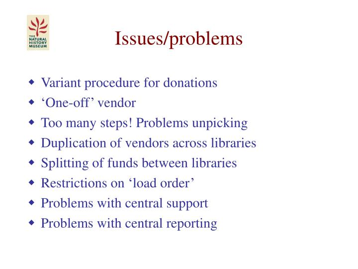 Issues/problems