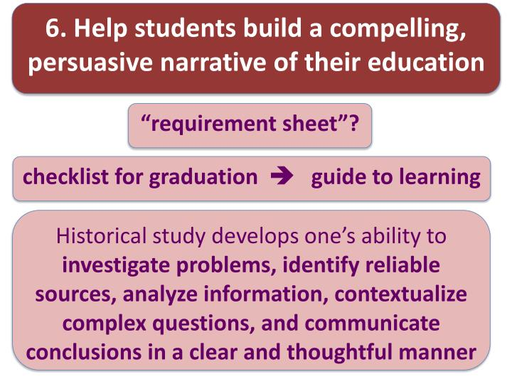 6. Help students build a compelling, persuasive narrative of their education