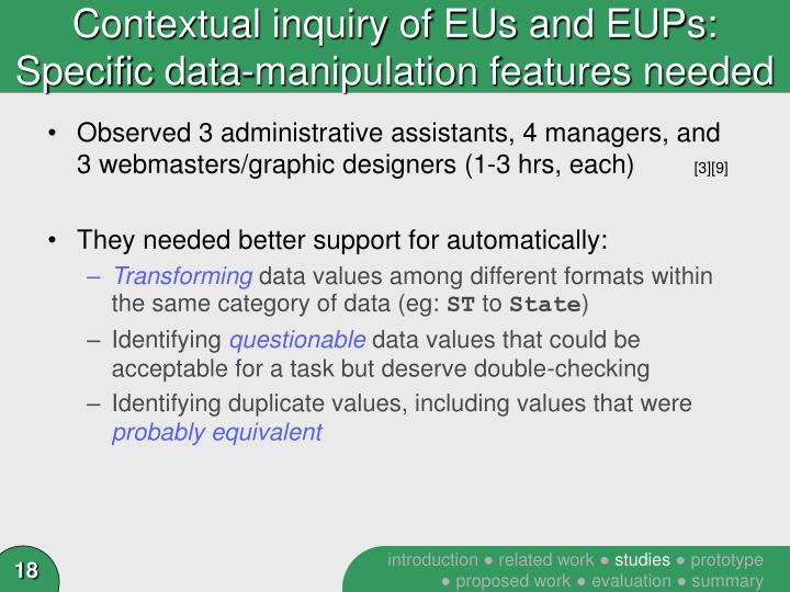 Contextual inquiry of EUs and EUPs: