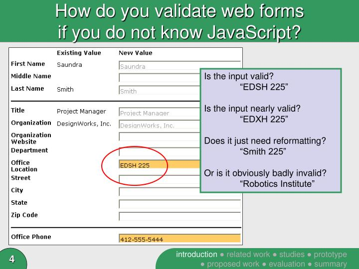 How do you validate web forms