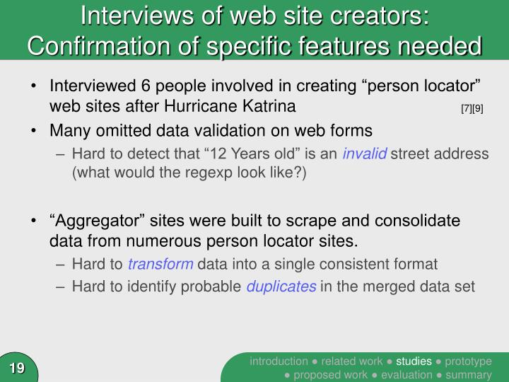 Interviews of web site creators: