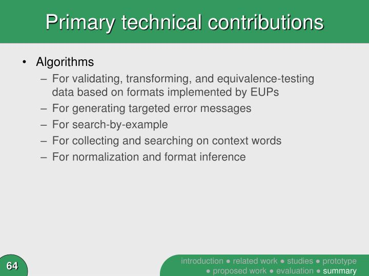 Primary technical contributions