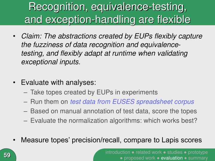 Recognition, equivalence-testing,