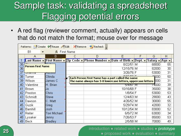 Sample task: validating a spreadsheet