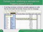 sample task validating a spreadsheet flagging potential errors