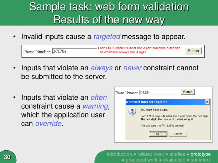 Sample task: web form validation