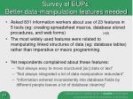 survey of eups better data manipulation features needed