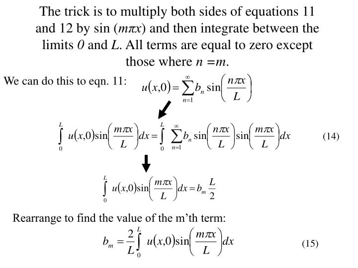 The trick is to multiply both sides of equations 11 and 12 by sin (