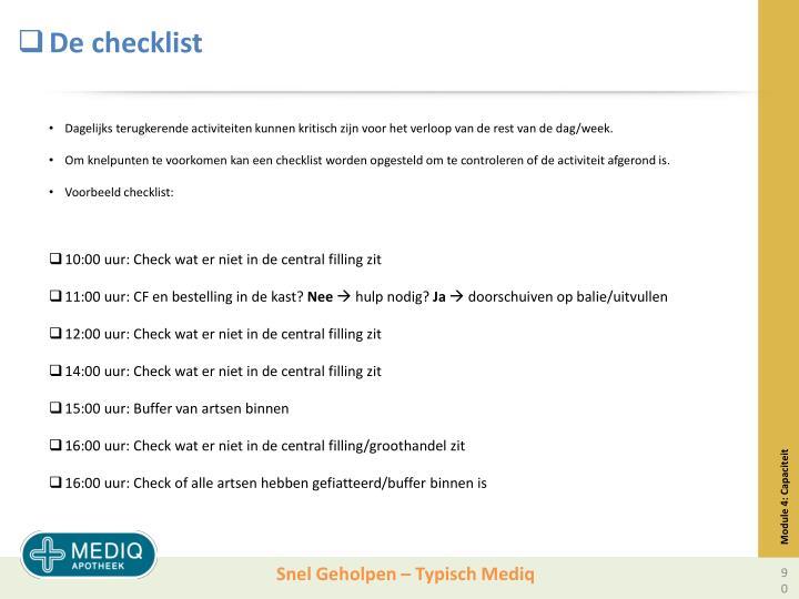 De checklist