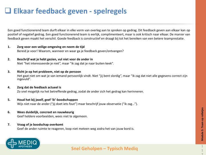 Elkaar feedback geven - spelregels