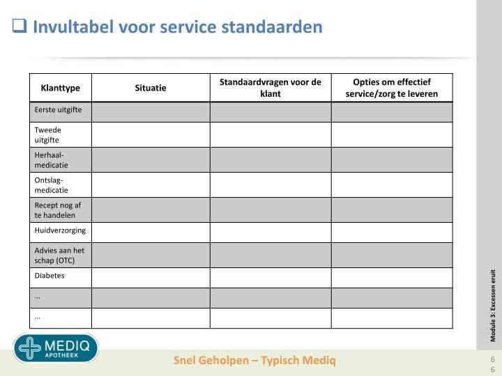 Invultabel voor service standaarden