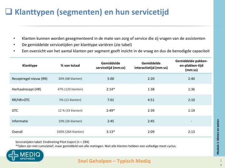 Klanttypen (segmenten) en hun servicetijd