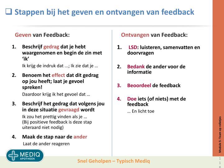 Stappen bij het geven en ontvangen van feedback