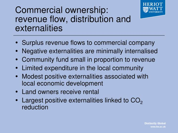 Commercial ownership: revenue flow, distribution and externalities