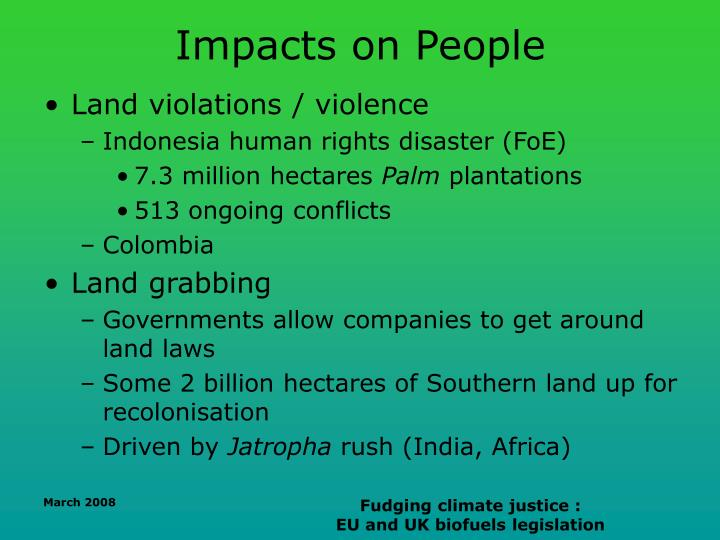 Impacts on People