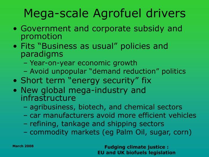 Mega-scale Agrofuel drivers