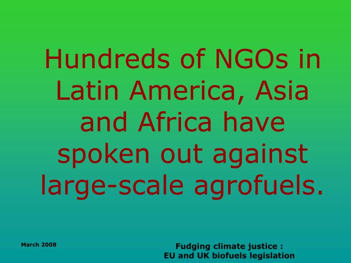 Hundreds of NGOs in Latin America, Asia and Africa have spoken out against large-scale agrofuels.