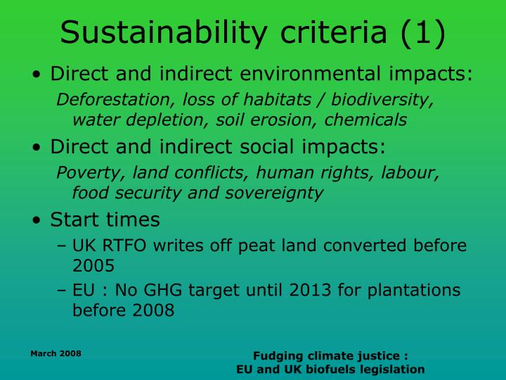 Sustainability criteria (1)
