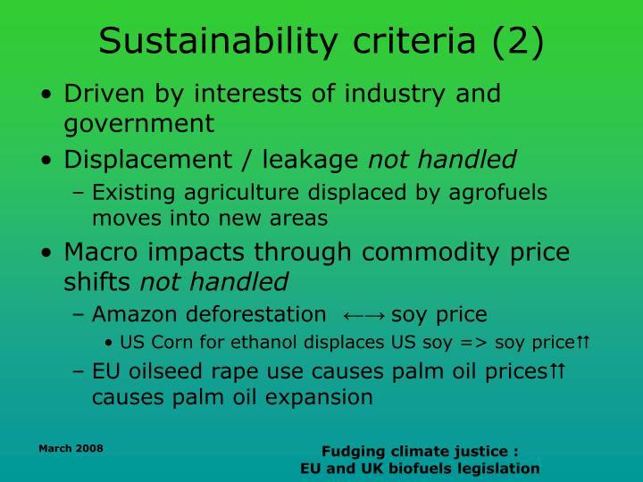 Sustainability criteria (2)