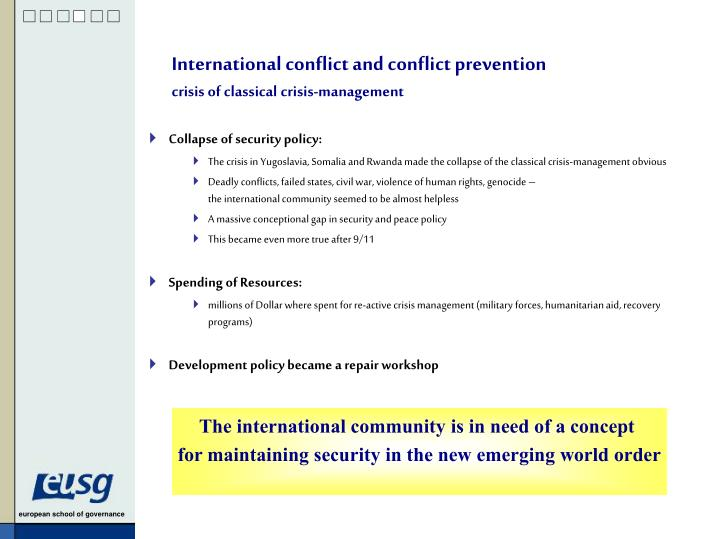International conflict and conflict prevention