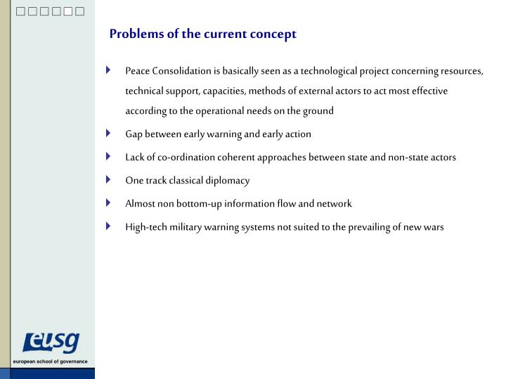 Problems of the current concept