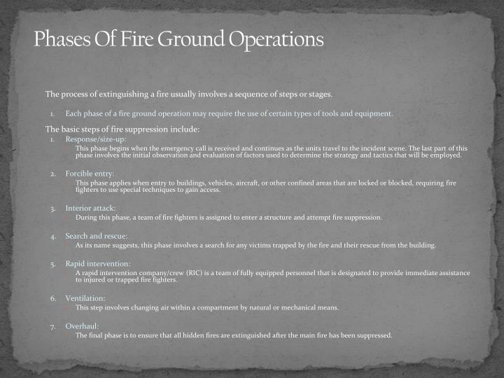 Phases Of Fire Ground Operations