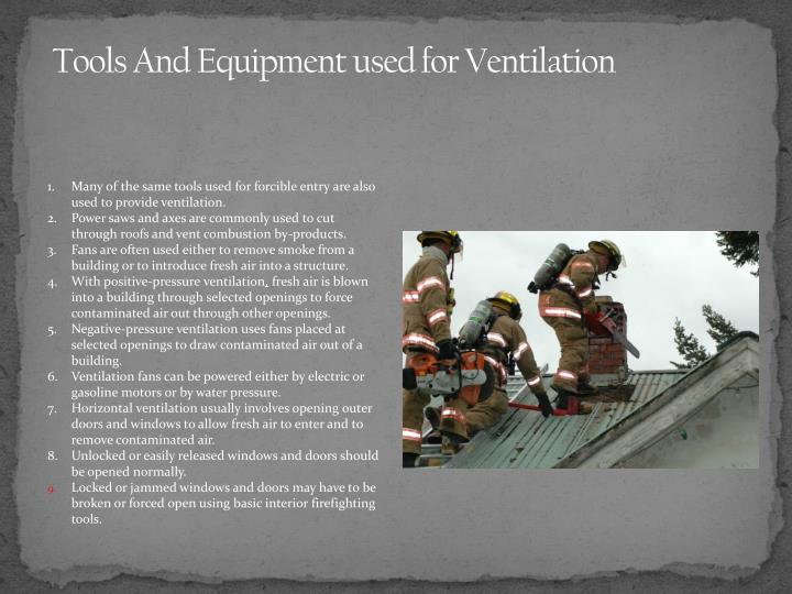Tools And Equipment used for Ventilation